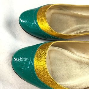 J.Crew Gold & Teal Patent Leather Ballerinas 8